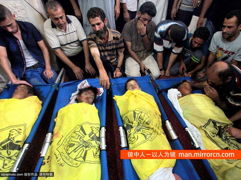 四名巴勒斯坦儿童被炮弹炸死
